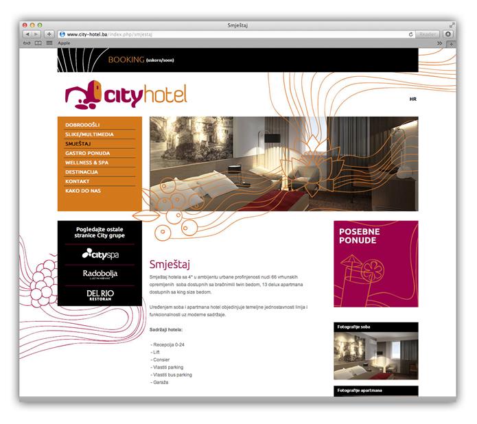 web stranica hotela city mostar