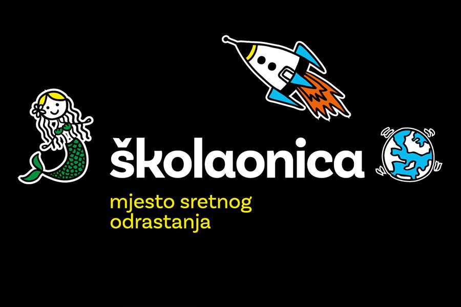 Vizualni identitet za Školaonicu - mjesto sretnog odrastanja logotip pozitiv negativ