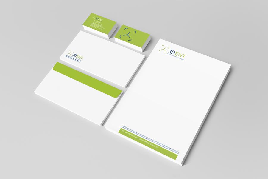 vizualni identitet 3dent dizajn memorandum kuverte vizitke
