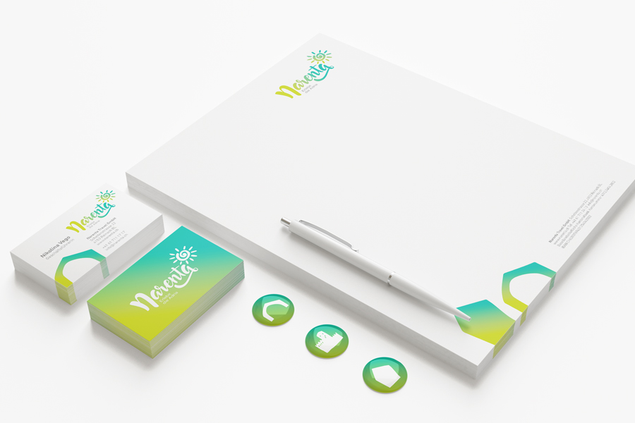 Visual identity of Narenta travel agency letterhead business card graphic design