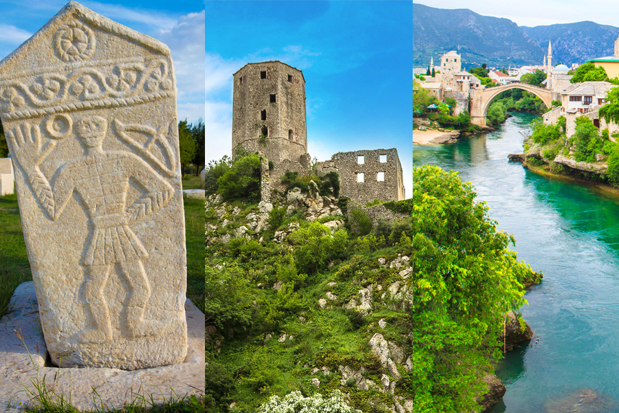 Visual identity of Narenta travel agency graphic design old bridge Mostar
