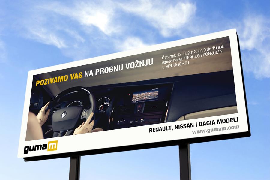 Logotip autokuća GumaM, reklama, billboard
