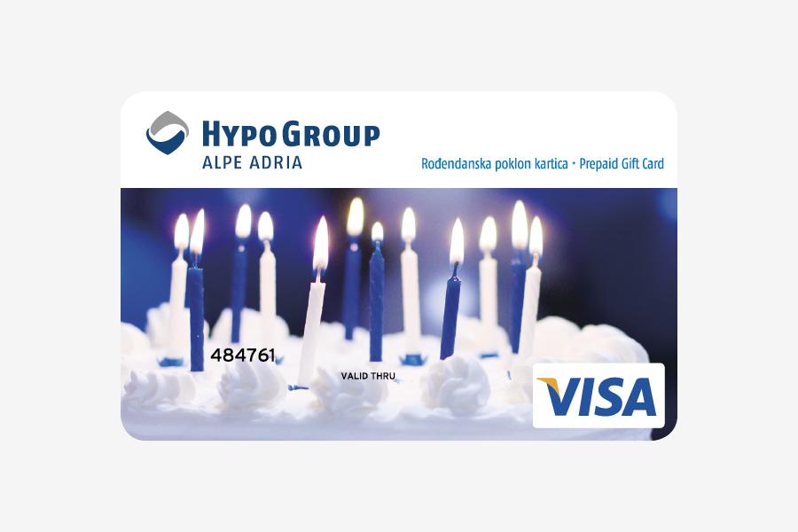 Dizajn Visa prepaid kartice, rođendanska poklon kartica Hypo alpe adria bank, shift