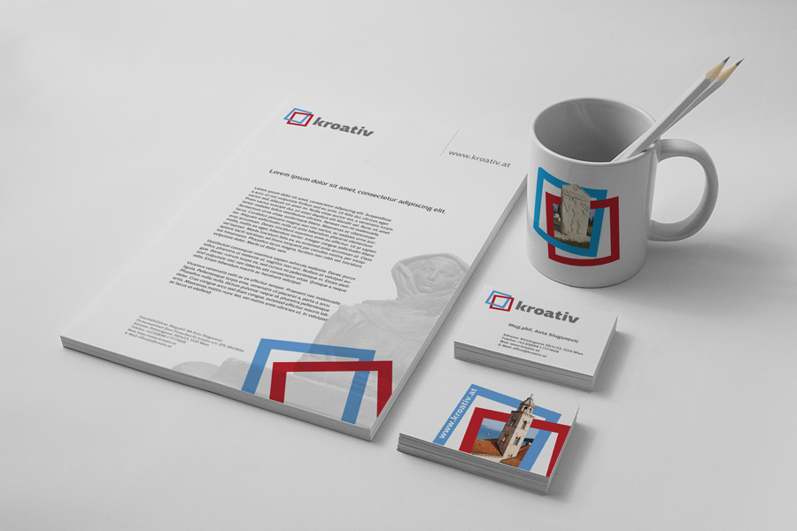 vizualni identitet kroativ, shift agencija mostar, aplikacija logotipa