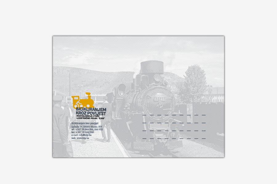 Vizualni identitet projekta Bicikliranjem kroz povijest, grafički dizajn, kuverta