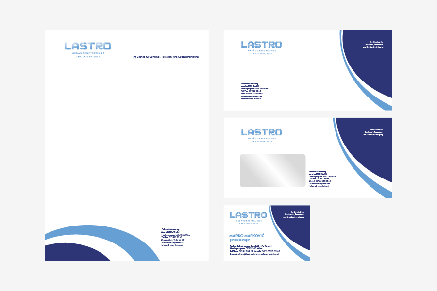 Vizualni identitet Lastro, dizajn memoranduma, vizitki, kuverte