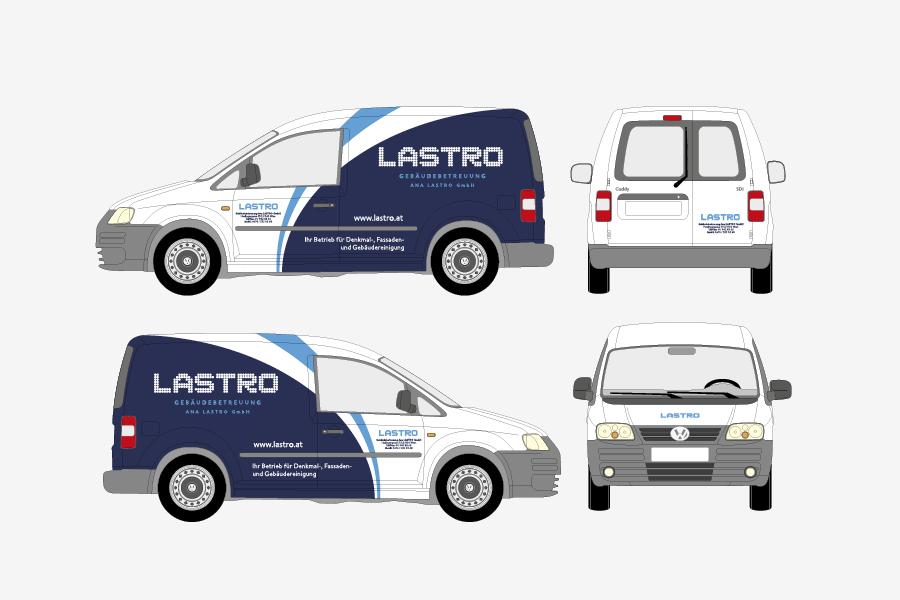 vizualni identitet Lastro GmbH, dizajn oslikavanja automobila