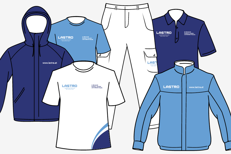 vizualni identitet Lastro, radna odijela, aplikacija logotipa na radna odijela