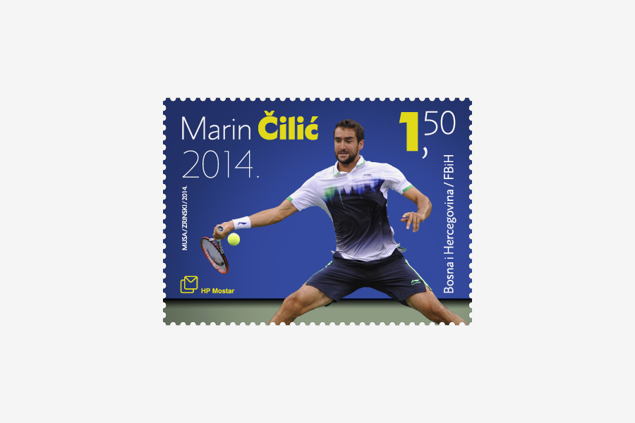 Poštanska marka u čast Marinu Čiliću, dizajn agencija shift mostar