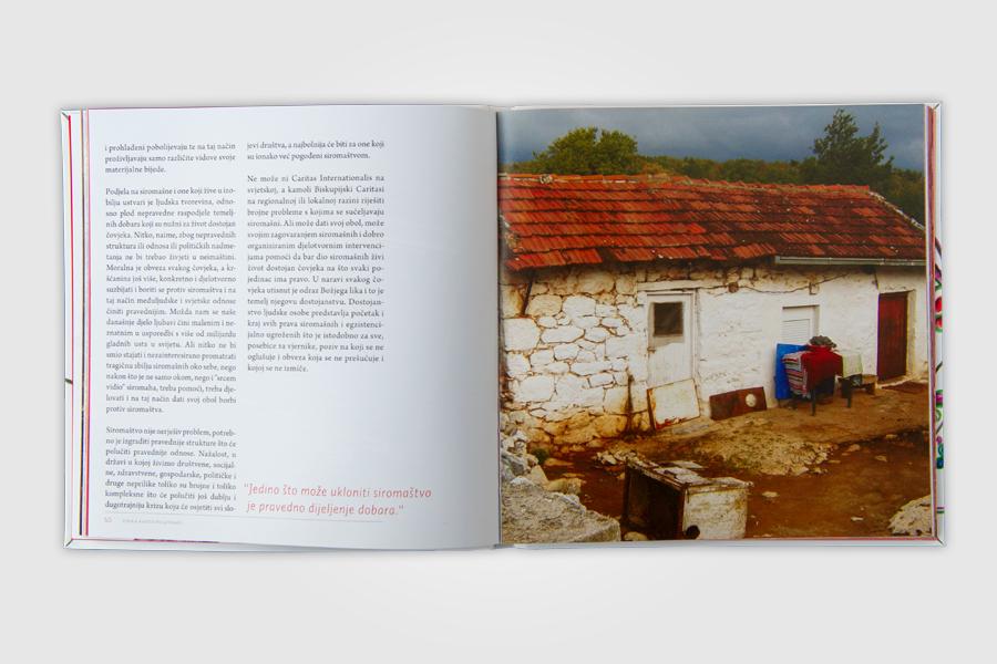 Dizajn monografije Caritasa, vjera raste po ljubavi, prijelom dizajn