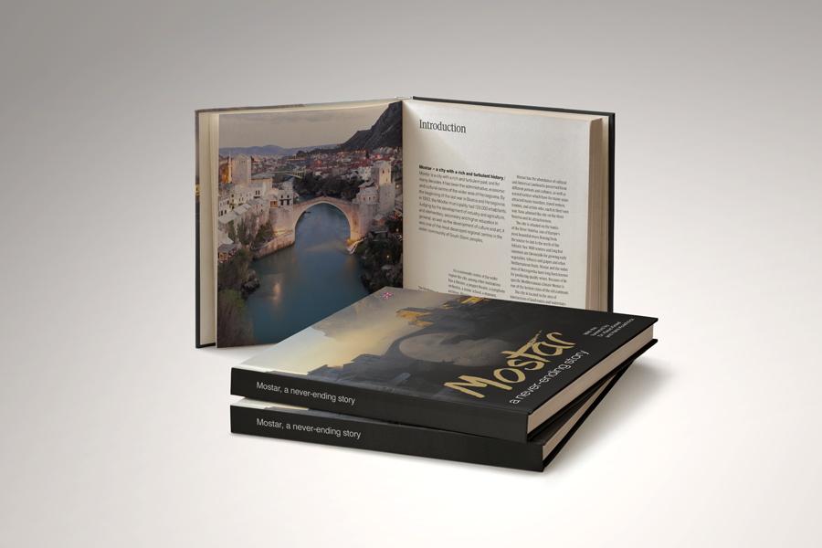 dizajn monografije Mostar - beskrajna priča, turistička agencija fortuna,  shift