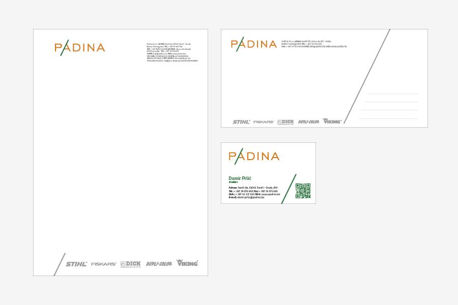 dizajn vizualnog identiteta padina d.o.o. - agencija shift memorandum