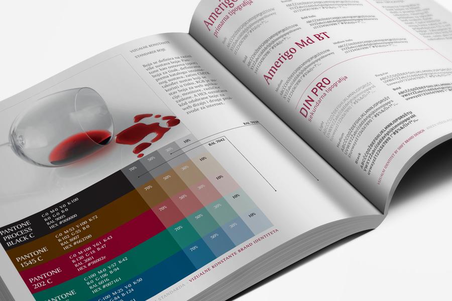 vizualni identitet knjiga grafičkih standarda vinarija pilač shift agencija