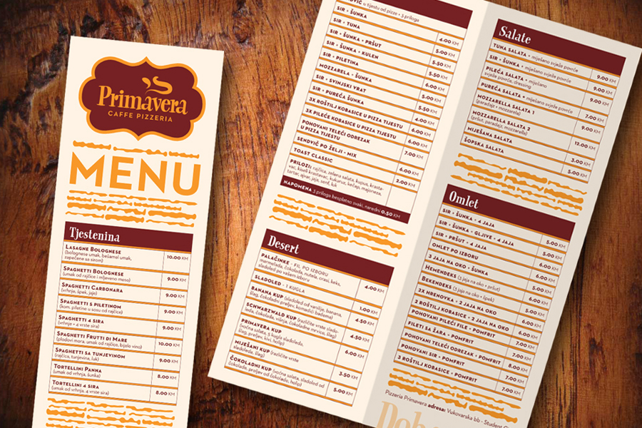 vizualni identitet primavera pizzerija menu