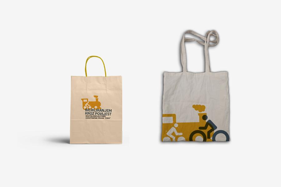 Vizualni identitet projekta Bicikliranjem kroz povijest, grafički dizajn, aplikacija logotipa na vrećicu