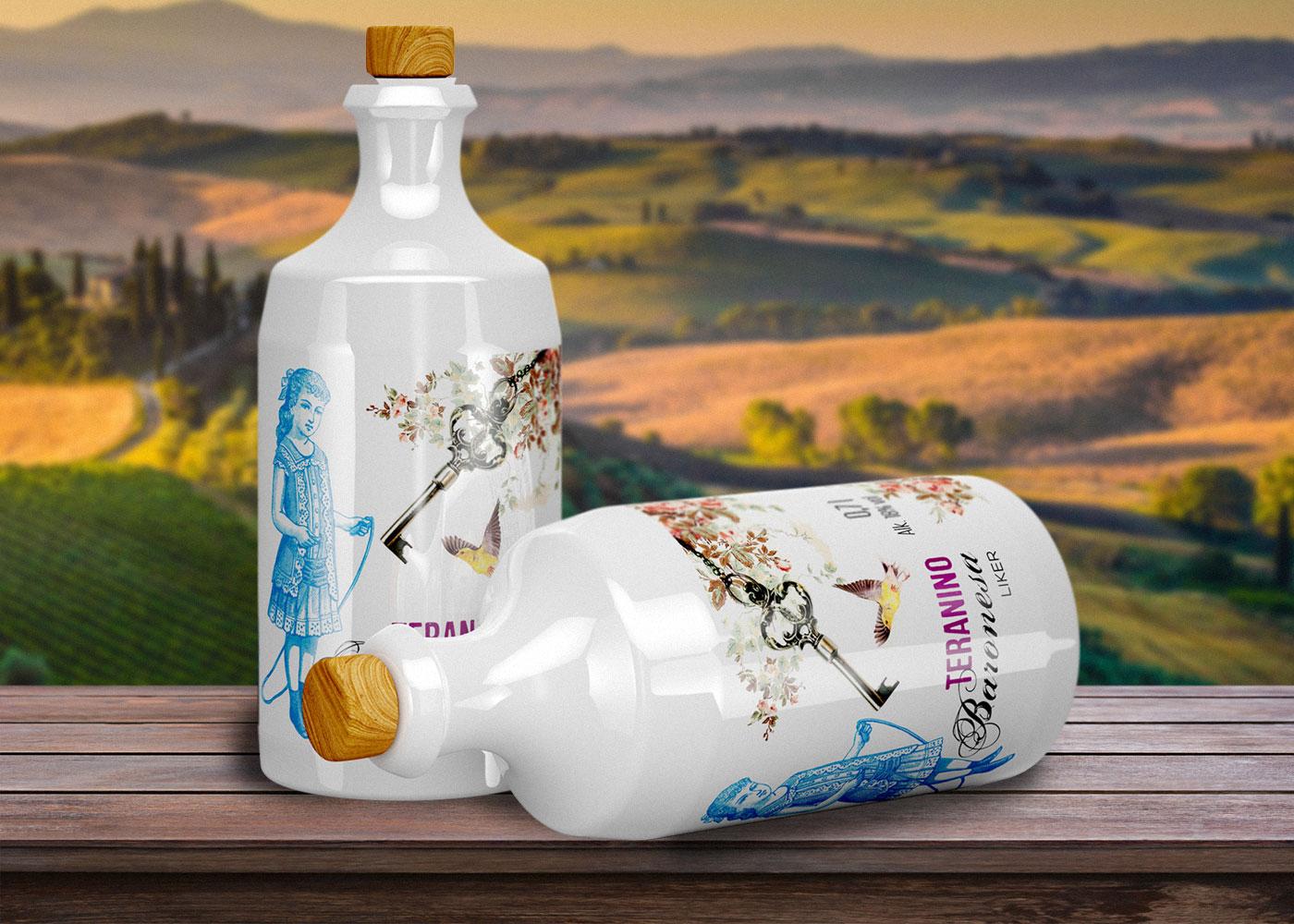 Label design for liquor Teranino Baronesa
