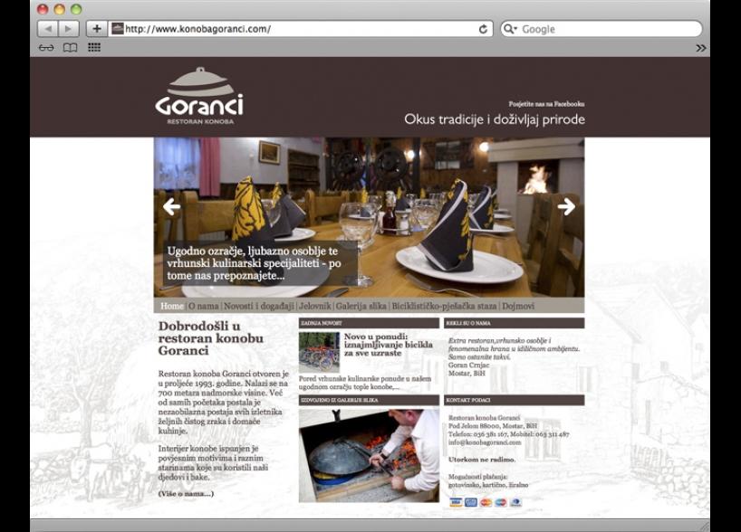 shift.ba grafički dizajn, restoran konoba goranci web strancia