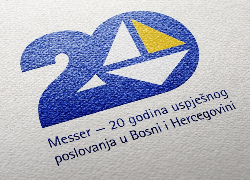 The logo of 20th anniversary of the German company Messer in Bosnia and Herzegovina