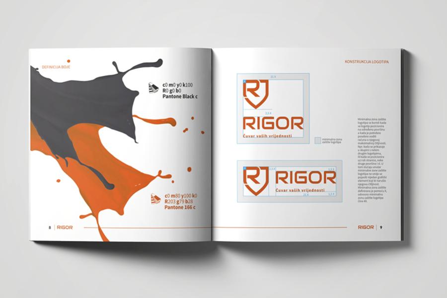 Vizualni identitet tvrtke Rigor knjiga grafičkih standarda brand manual