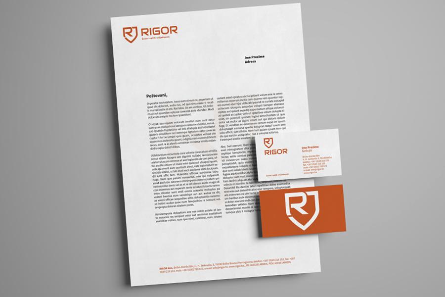 Vizualni identitet tvrtke Rigor memorandum vizitka