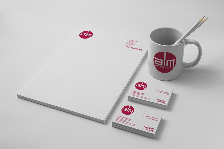Dizajn vizualnog identiteta i kataloga proizvoda tvrtke ALM dizajn memorandum, šalice vizitke