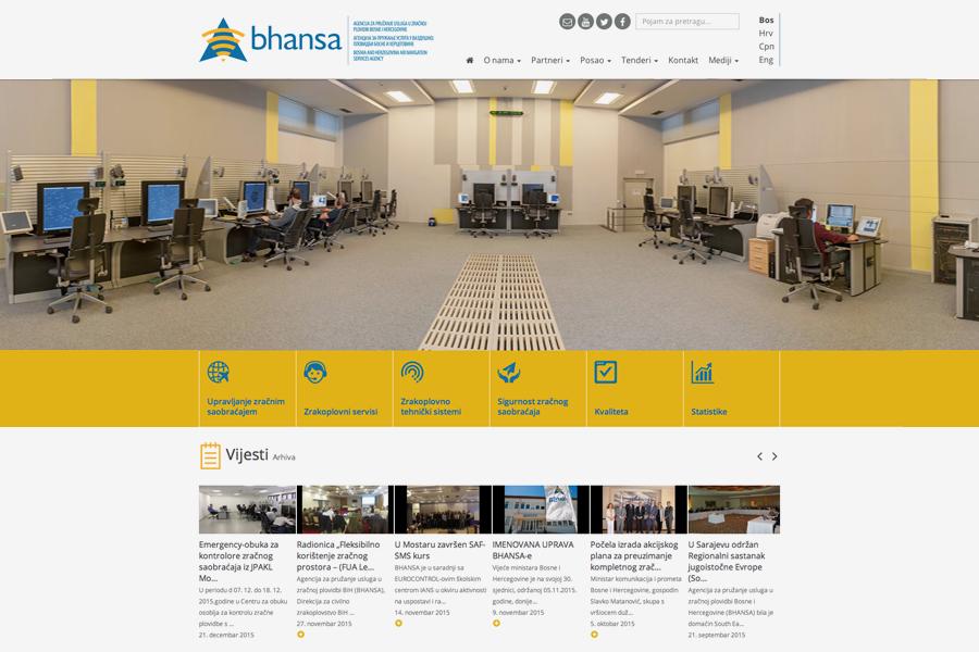 BHANSA vizualni identitet, dizajn web stranice