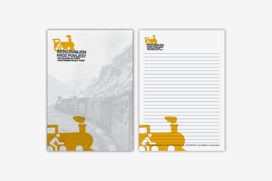 Vizualni identitet projekta Bicikliranjem kroz povijest, grafički dizajn, dizajn bloka