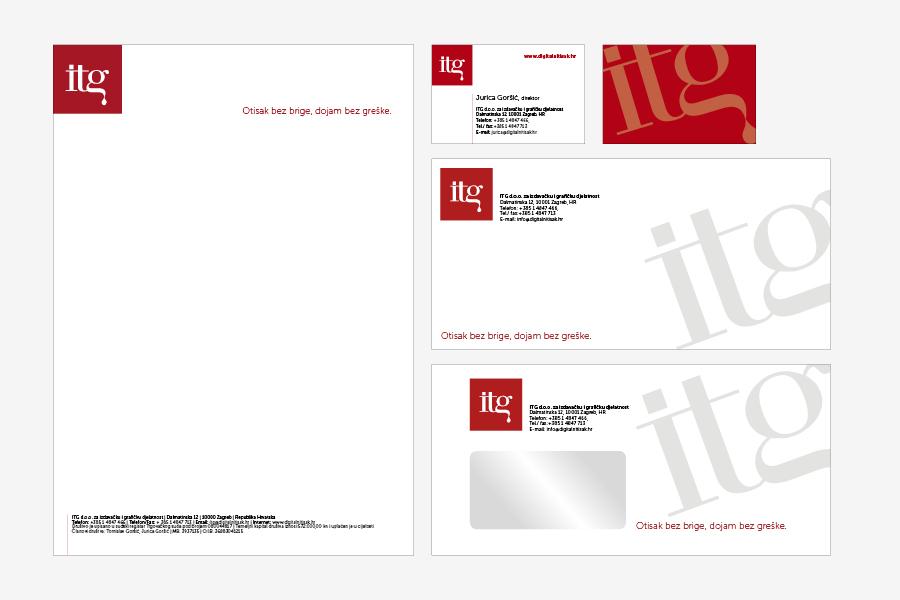 ITG vizualni identitet, logotip, memorandum, kuverta, vizitka